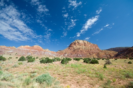 high desert: Mesa and Canyon at Ghost Ranch in Aibquiu, New Mexico, Wide Angle with Polarizer Stock Photo