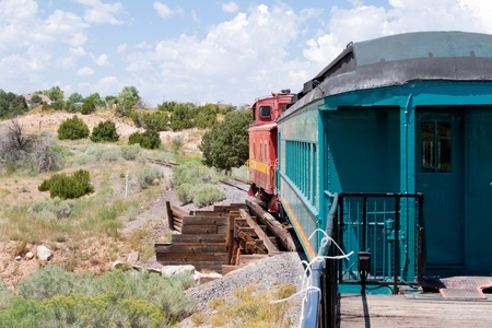 Vintage Rail Car and Caboose in the desert south of Santa Fe, New Mexico Stock Photo - 11390137