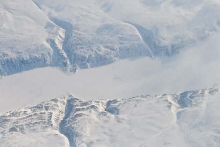 cliff edges: River and eroded cliffs on Baffin Island Canada.  Shot from an airplane.