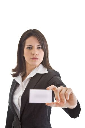 Happy Caucasian woman in business suit smiling and holding out business card.  Isolated on white. Stock Photo - 11397385