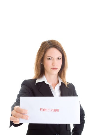 foreclosed: Angry Caucasian Woman Holding an Envelope marked foreclosed on an Isolated White Background.