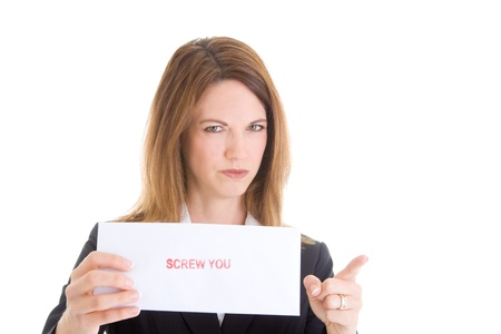 Displeased Caucasian Woman Holding Sign and Pointing White Background