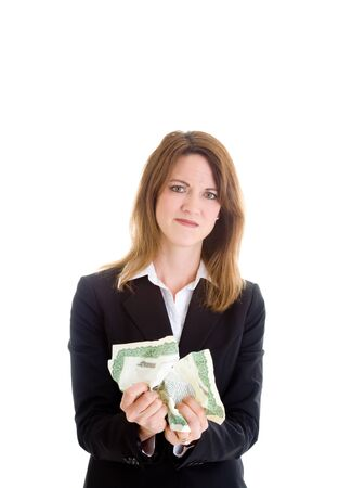 Angry woman crumpling a stock certificate.  Investments gone bad theme.  Isolated on white background. Stock Photo - 11397280