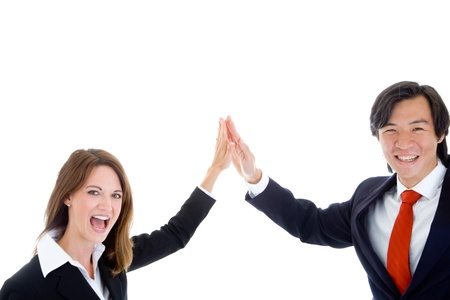 Caucasian Businesswoman Asian Businessman High Five Isolated White Background photo