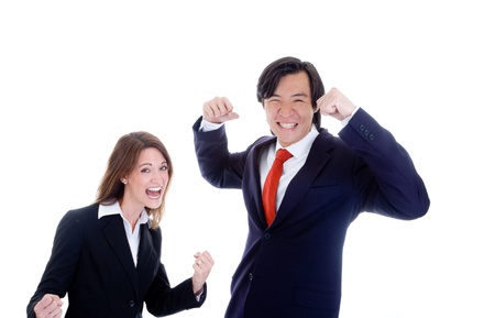 chinese adult: Caucasian Woman Asian Man in Suits Cheering Stock Photo
