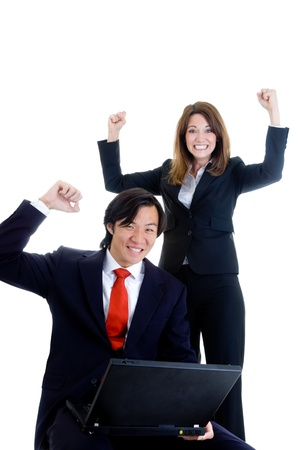 Happy Business Team, Asian Man Caucasian Woman Cheering at Laptop Stock Photo