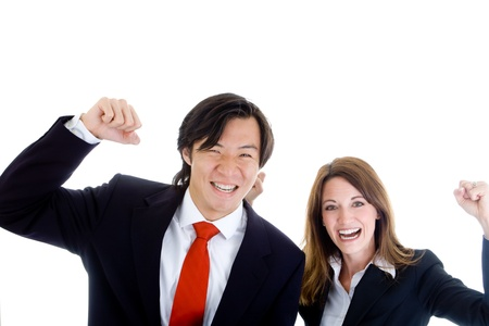 Asian man and white woman pumping their fists in the air photo