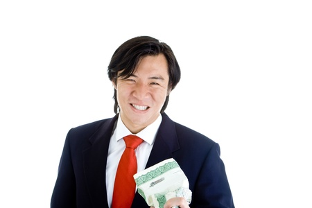 stock certificate: Asian man crushing a stock certificate in anger.  Isolated on white background Stock Photo