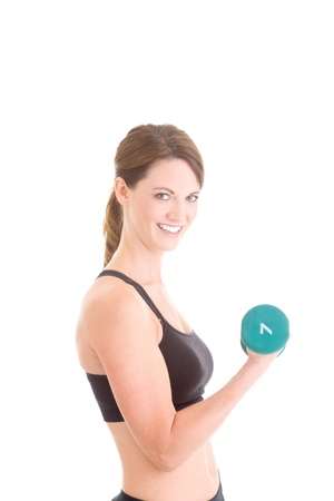 hand weight: Slender Caucasian Woman Working Out with Hand weight