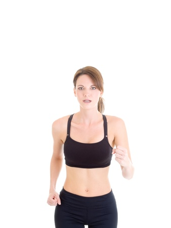 hour glass figure: Slender White Woman Jogging on Isolated Background Stock Photo