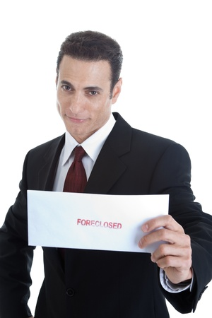 Handsome Caucasian Man Holding Envelope Foreclosed Isolated on White Stock Photo - 11397330