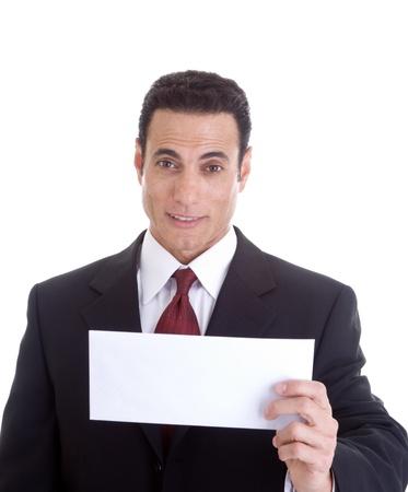 raised eyebrow: Surprised white businessman holding a blank envelope.  Isolated on white background. Stock Photo