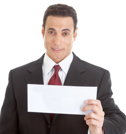 Surprised white businessman holding a blank envelope.  Isolated on white background. photo