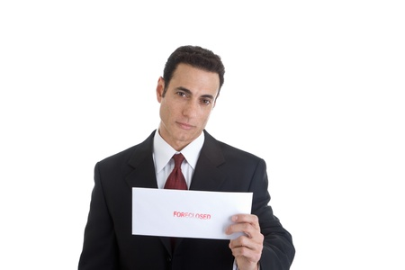 foreclosed: Handsome Caucasian Man Holding Envelope Foreclosed Isolated on White