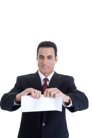straining: Front view of angry white businessman ripping a blank envelope.  Isolated on a white background.