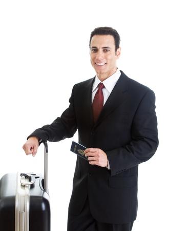 pasaporte: Hombre, caucásico, viajar con la maleta y el pasaporte fondo blanco aislado Foto de archivo