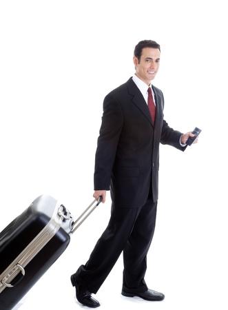 viajero: Hombre, cauc�sico, viajar con la maleta y el pasaporte fondo blanco aislado Foto de archivo