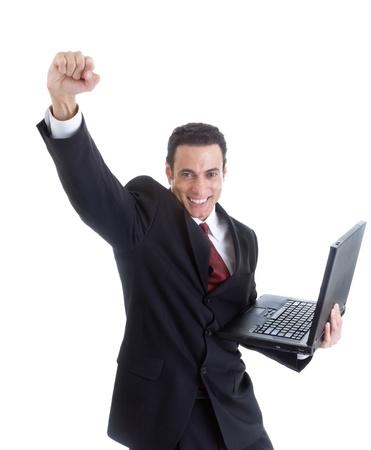 fist pump: Celebrating Caucasian Man Suit Holding Laptop Isolated White Background