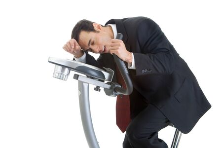 Exhausted Businessman Riding Exercise Bike Isolated White Background Stock fotó