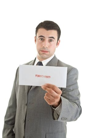 puffed cheeks: Unhappy Hispanic Man Suit Holding Foreclosure Notice White Background Stock Photo