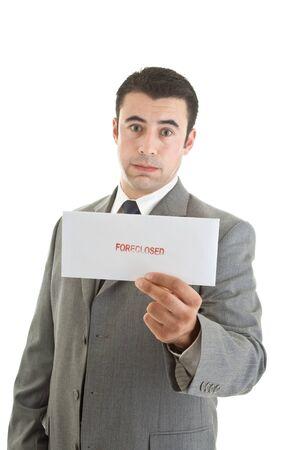Unhappy Hispanic Man Suit Holding Foreclosure Notice White Background photo