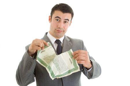 stock certificate: Angry Caucasian Hispanic Man Tearing Stock Certificate