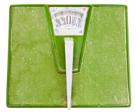 bathroom: Grungygrimy green bathroom scale from the 1970s.
