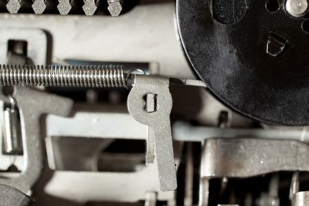 Closeup of the inside of an adding machine.  Semi abstract vintage machine look. Stock Photo