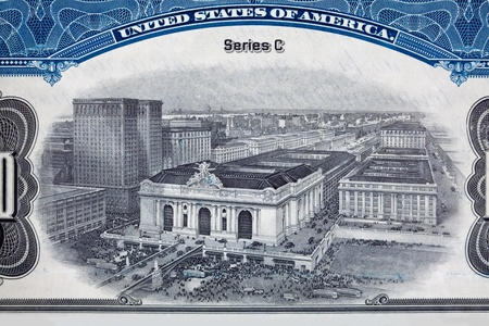 Engraving of Grand Central Station in New York City, NY, USA.  This from a vignette (oval design on a certificate) from a railroad bond certificate. Stock Photo - 11390135