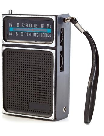 transistor: Vintage Black Transistor Radio Isolated on White Background