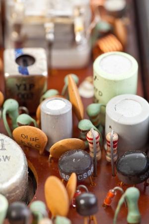 Macro shot of transistors inside a vintage transistor radio