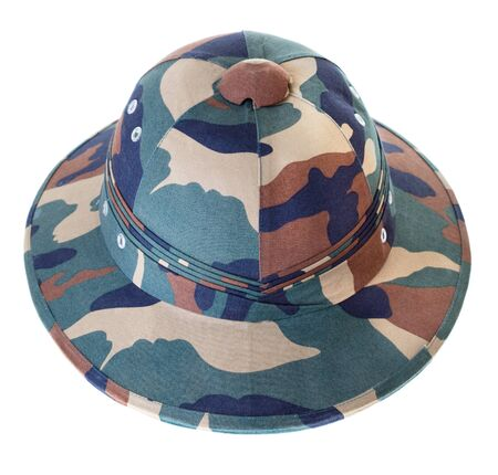 pith: Camouflage Pith Helmet Isolated White Background seen from the front