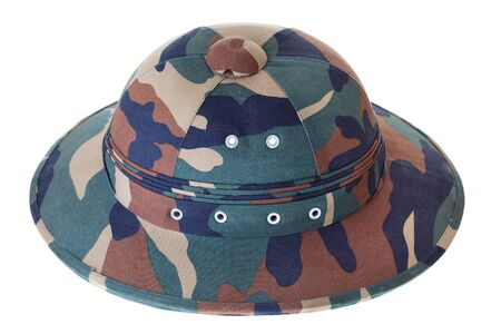pith: Camouflage Pith Helmet Isolated White Background seen from the side