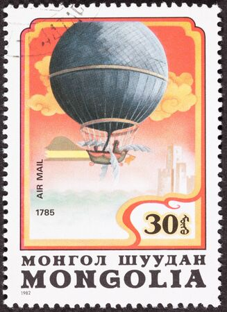 commemorating: Mongolian stamp commemorating Jean Pierre Blanchard Crossing English Channel 1785.    Yes those are wings!   Technically this is a dirigible as it could be steered.