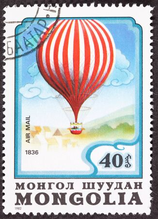 franked: Mongolian air mail stamp commemorating Charles Green Stock Photo