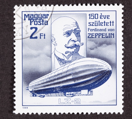 franked: Hungarian Air Mail Stamp commemorating the 150th anniversary of Count Ferdinand von Zeppelin