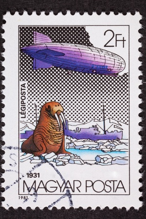 magyar: Polar flight of the Graf Zeppelin in 1931.   Cancelled Hungarian Stamp