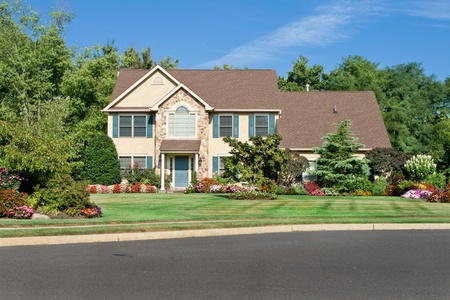 Attractive single family house in suburban Philadelphia, PA.  Georgian/Colonial style.