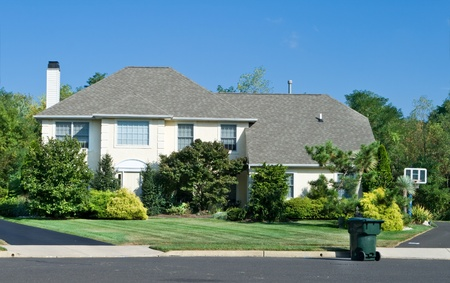 large doors: Attractive single family house in suburban Philadelphia, PA.