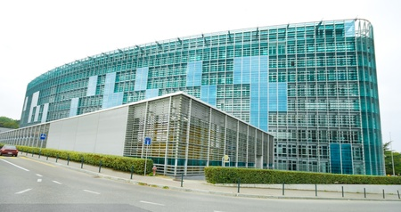 meteorological: Modern glass building World Meteorological Organization, WMO, Geneva Switzerland.  Wide angle lens.