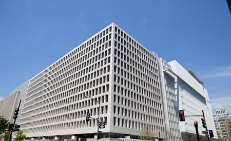 South side headquarters for the World Bank in Washington, DC, USA.  Very modern building, it is the site of frequent anti-globalization protests. Stock Photo - 11379614