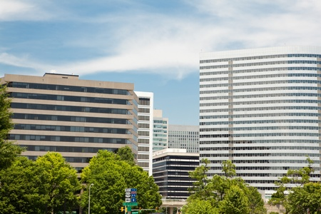 Modern office building in downtown Rosslyn, Virgina, just outside Washington DC.  Blue sky background. Editorial