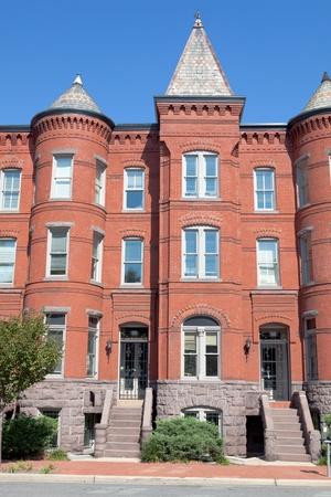 row of houses: Richardsonian Romanesque Style Brick Row Homes Capitol Hill, Washington DC