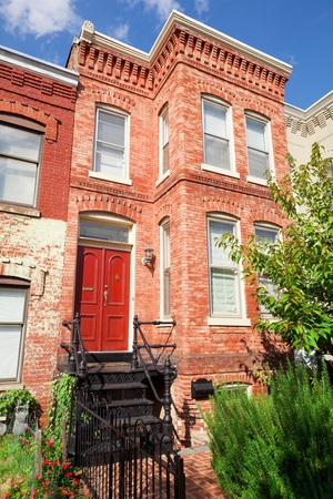 Tidy Red Brick Italiante Style Row House Home, Washington DC Stock Photo - 11379700