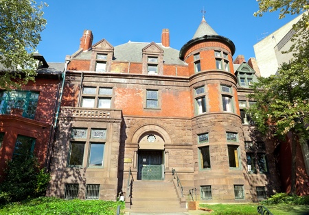 Richardsonian Romanesque style, Victorian home in with a tower in Washington DC.