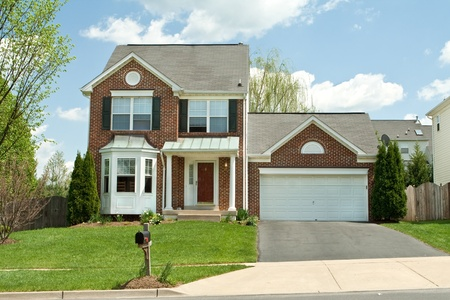 two car garage: Single family home in suburban Maryland, USA.