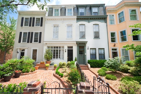 row: Tidy Second Empire Style Row Homes, Brick Path, Washington DC Editorial