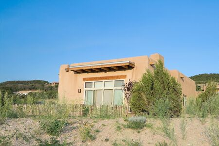 Modern Spanish Pueblo Revival Architecture single family house house, Suburban Santa Fe  New Mexico