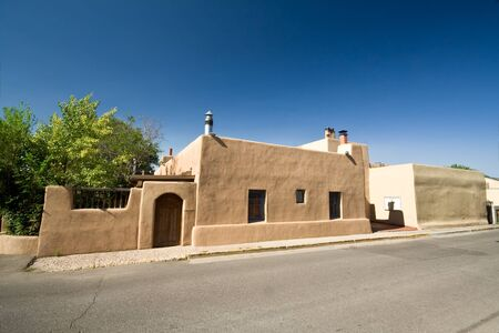 Adobe home in downtown Santa Fe. Wide angle lens Stock Photo - 11379530
