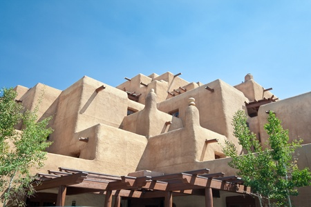 adobe pueblo: Adobe style hotel in Santa Fe, New Mexico.  Trying to look like a Native American pueblo